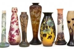 Cambi-Emile-Galle-gruppo-di-grandi-vasi-in-vetro-cammeo-con-decoro-di-fiori-a-rilievo-e-a-smalto-Francia-1900-ca